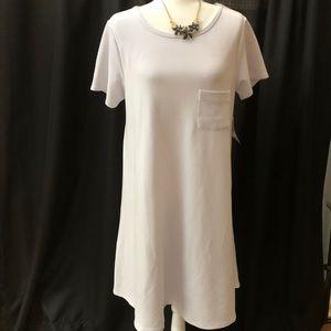 Lularoe Carly Dress White Pocket Size Large. NWT